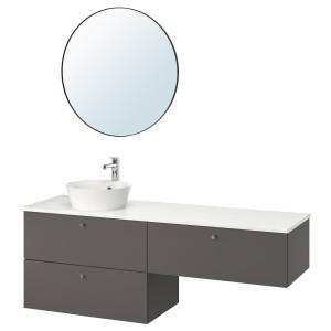 ГОДМОРГОН/ТОЛКЕН / КАТТЕВИК Комплект мебели для ванной,6 предм., Гилльбурен темно-серый, под мрамор БРОГРУНД смеситель